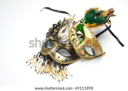 Two golden venetian mask - stock photo