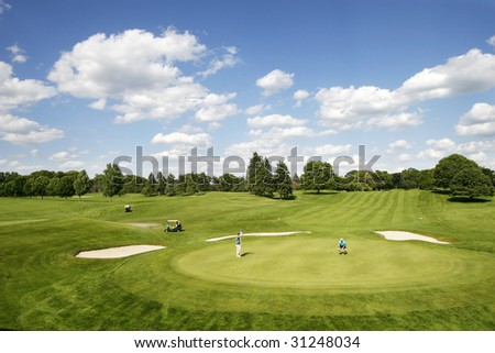 two golfers on beautiful golf course