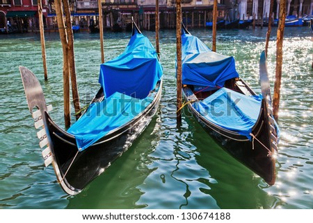two gondolas on the Grand Canal in Venice