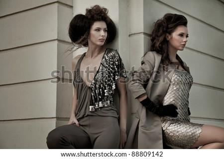 Two gorgeous women - stock photo