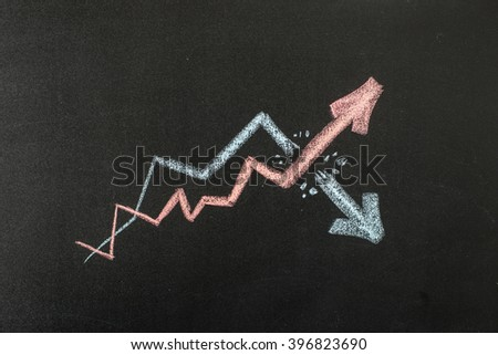 Two graphs are drawn on the blackboard with chalk. One breaks through the other. Business idea. Lots of space for text - stock photo