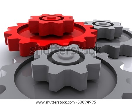 two gray and one red gears placed horizontal on white background with shadow - stock photo