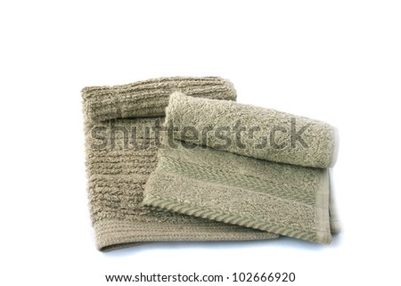 Two gray towels isolated on white background.