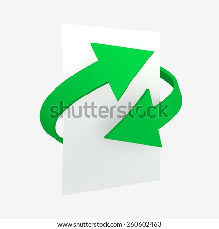 Two green arrows show crossed a conceptual idea of recycling paper