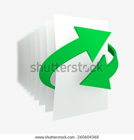 Two green arrows show crossed a conceptual idea of recycling paper. Behind the arrows a series of blank sheets blank blurred in the distance - stock photo