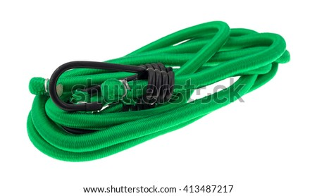 Two green bungee cords neatly arranged isolated on a white background.