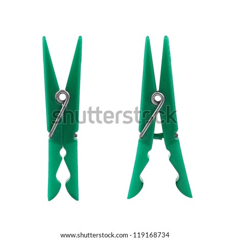 two green clothes-peg - stock photo