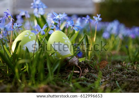 Two Green Easter eggs in front of Violets