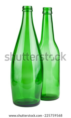 Two green empty bottles isolated on white background