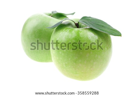 two green fresh ripe apple isolated over white background - stock photo