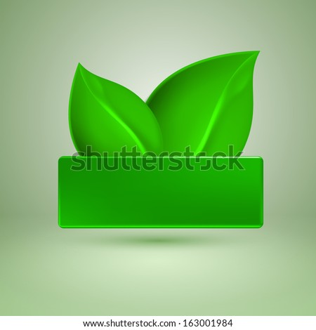 Two green leaves. Label with place for text. Raster version.