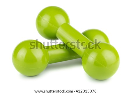 Two green plastic dumbbells for fitness isolated on white background - stock photo