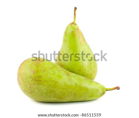 Two green ripe pears isolated on white background