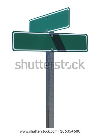 Two Green Street Signs on Metal Pole With Copy Space Isolated on White Background. - stock photo