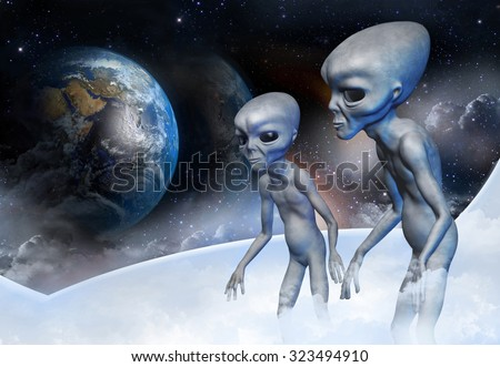 Two grey alien in earth orbit are observing from the space ship for the planet earth. Digital illustration.