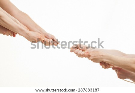 Two group of people pulling a cord, white background