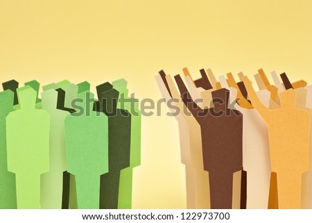 Two groups of different societies on disagreement. Concept of confronted societies - stock photo