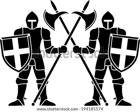 two guardians. stencil - stock photo