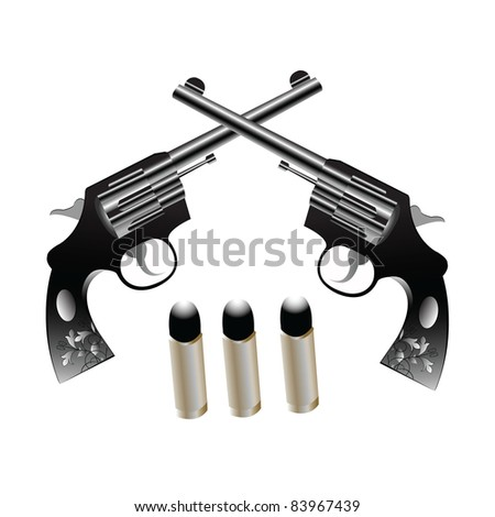 Two gun with bullet - stock photo