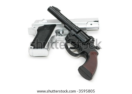 Two guns isolated on the white background - stock photo
