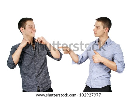 Two guys advertise clothes isolated