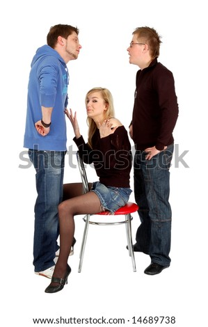 Two guys arguing in front of a pretty sitting girl, isolated on white