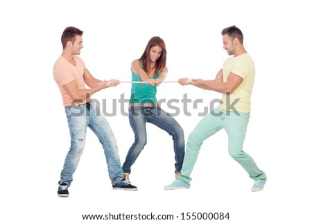 Two guys competing for a girl pulling a rope isolated on a white background - stock photo