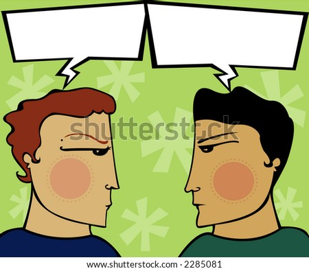 Two guys have a heated discussion - arguing with empty speech bubbles (for you to fill) - stock photo