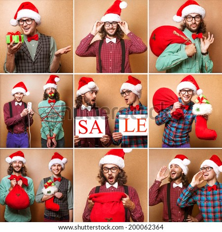 Two guys holding christmas gifts happy. Christmas, x-mas, people, advertisement, sale concept - happy two man in santa helper hat with blank white board. Hipster style.Collage - stock photo