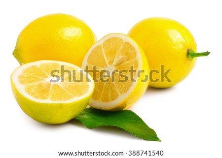 two half lemons and whole on a white background - stock photo