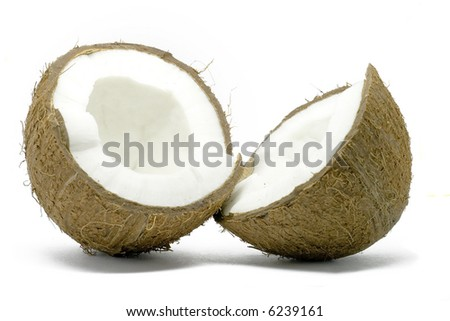 Two half of coconut isolated on white