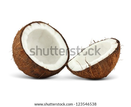 two halfs of coconut isolated on white background - stock photo