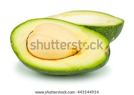 Two halves of avocado isolated on white background - stock photo