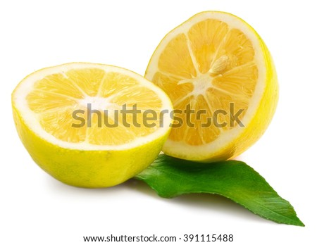 Two halves of lemon isolated on white - stock photo