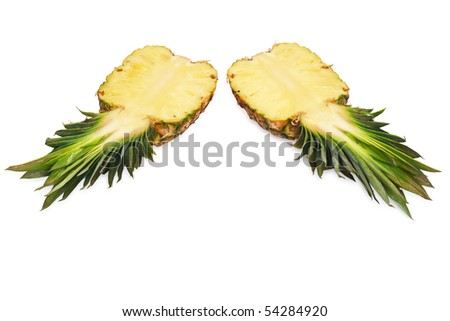 Two halves of pineapple.Iisolated on white