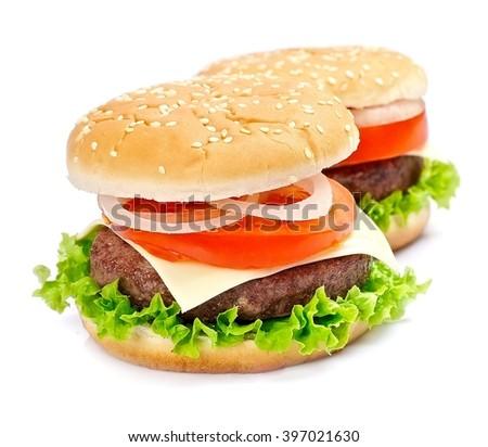 Two hamburger on a white background.  - stock photo