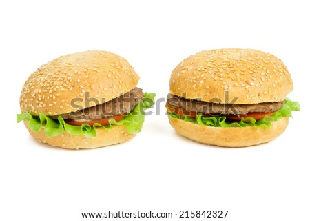 Two hamburgers isolated on the white background