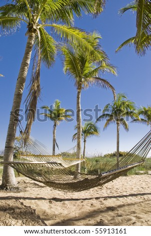 Two hammocks gently swaying in the cool Caribbean sea breeze. - stock photo