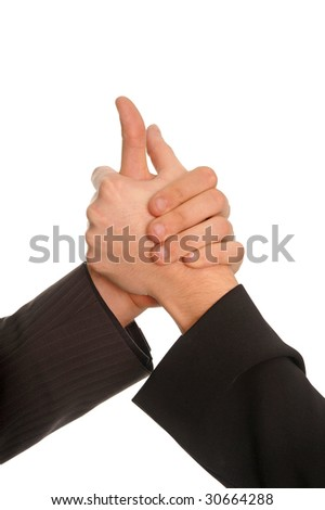 two 2 hand hold agreement contract business - stock photo