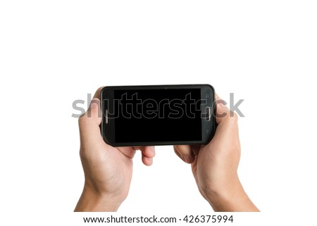 two hand hold empty black screen moblile phone isolated on white background