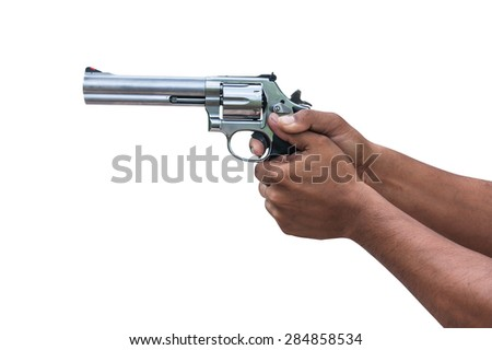 two hand holding gun revolvers on isolate background
