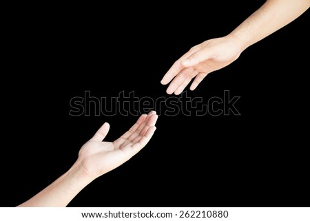 Two hand isolated on black background support. - stock photo