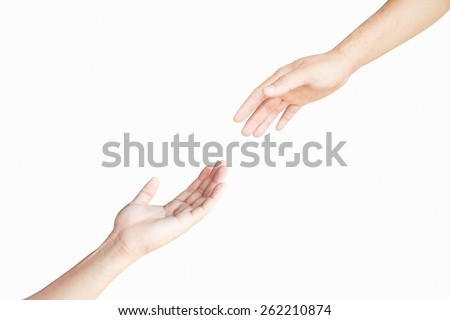 Two hand isolated on white background support. - stock photo