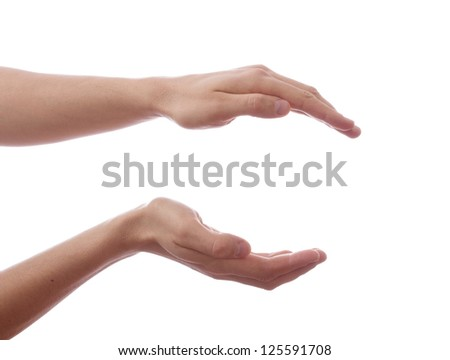 Two hand, keeping safe. isolated on white background