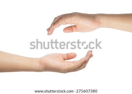 Two hand, keeping safe. isolated on white background - stock photo