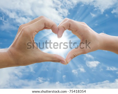 two hand make heart sign - stock photo