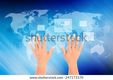 two hand of women on global background.