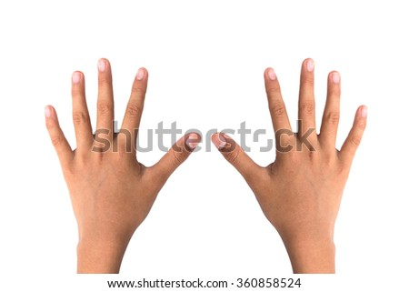two hand on white background with clipping path - stock photo