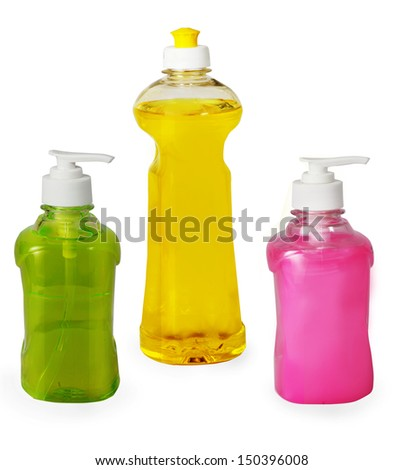 two hand wash liquid with one  dish wash in white background - stock photo