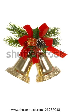 Two handbells, red tape, branches of a fur-tree on a white background